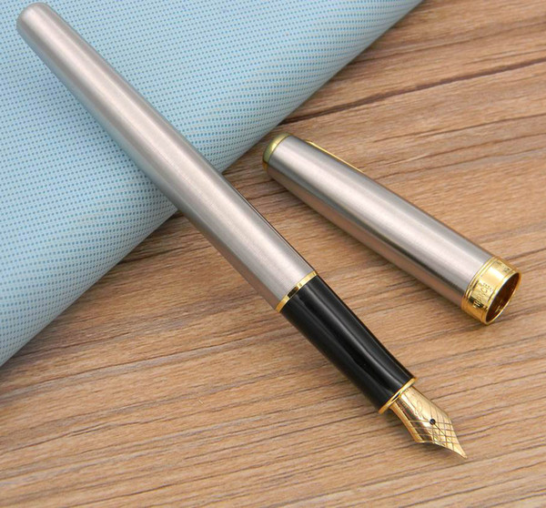 best selling 2pc gift Business Parker Sonnet Series Stainless With Golden Trim fountain Pen