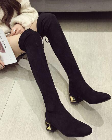 New Arrival Hot Sale Specials Super Fashion Influx Sexy Tube Plus Velvet Trend Stovepipe Slim Black Stretch Overknee Heels Boots EU35-39