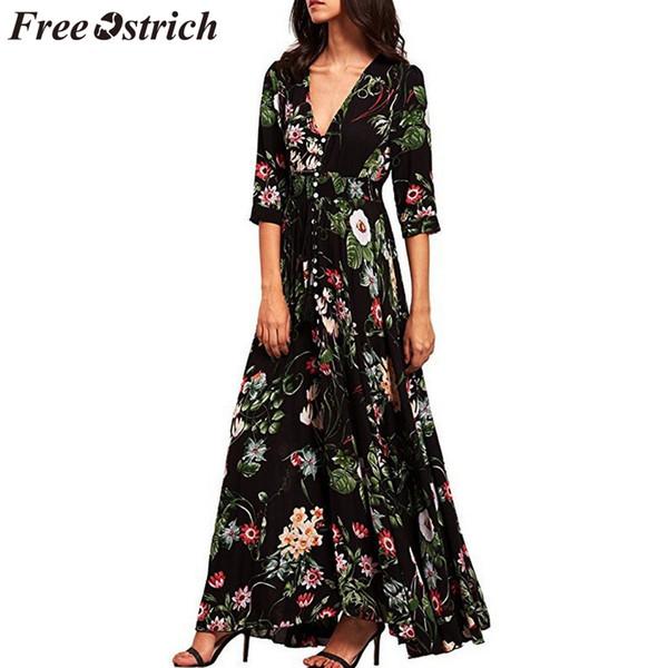 FREE OSTRICH Mulheres Vestido Floral Impresso Botão Acima Da Meia Manga Dividido Flowy Partido Dignificado Nobre Tendência Elegante Vestido Longo De Verão