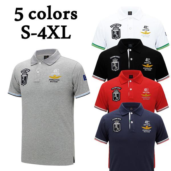 2018 Tops hombres bordado camiseta Turn-down cuello ropa S-4XL diseñador camisas de polo para hombre de moda de manga corta delgada