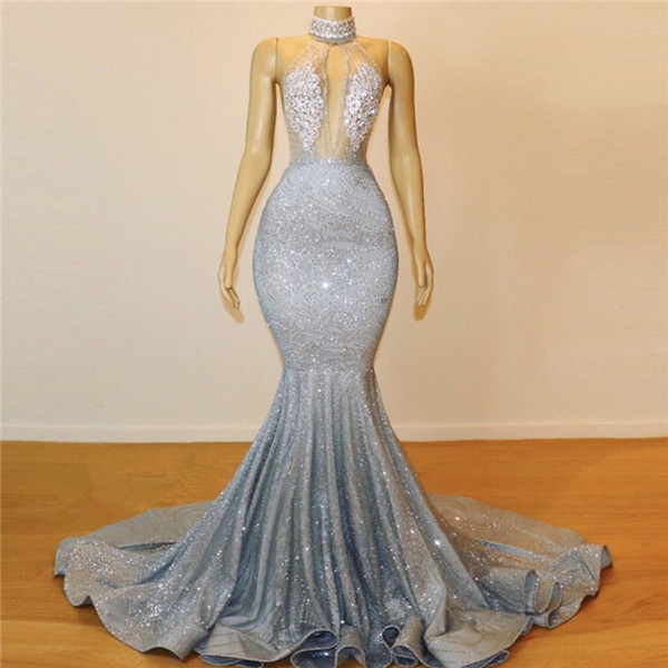Sexy Beaded Collar Mermaid Prom Dresses Long 2019 Sheer Key Hole Bust Backless Formal Evening Gowns Cheap Sequin Cocktail Party Ball Dress