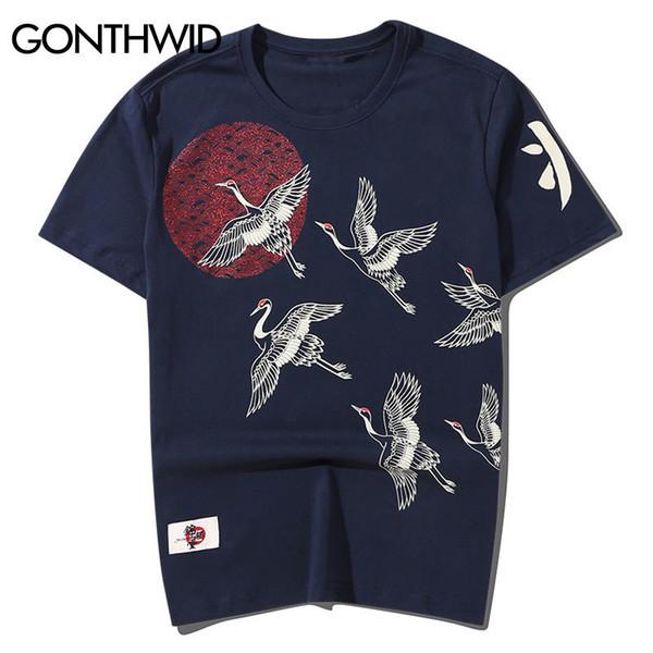 Gonthwid Guindastes Japoneses Sol Impresso Streetwear Camisetas 2019 Harajuku Estilo Casual Algodão de Manga Curta T-shirt Camisas Dos Homens Tops Y19060601