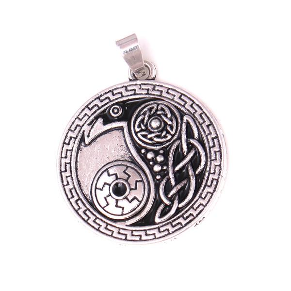 HY113 New arrival Raven Pendant Vintage Crow Yin Yang amulet pendant Jewelry Men Gift for Boy Friend