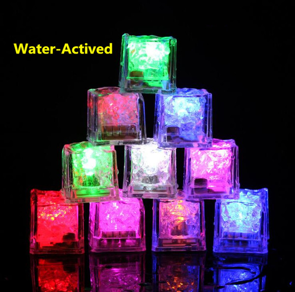 top popular High Quality Flash Ice Cube Water-Actived Flash Led Light Put Into Water Drink Flash Automatically for Party Wedding Bars Christmas 2019