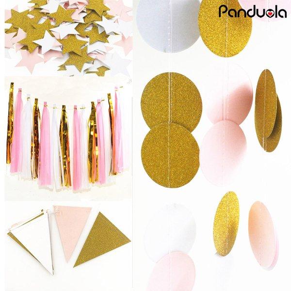 핑크 화이트 골드 컬러 반짝임 원 종이 화환, 종이 배너, 신부 샤워 생일 파티 조직 술 화환