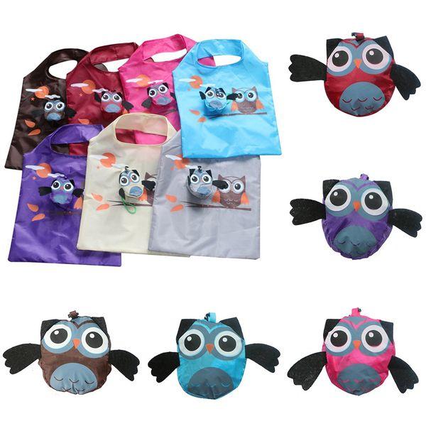 Cute Animal Owl Folding Shopping Bag Reusable Foldable Tote Bag Portable Travel Eco Bags Cloth Fabric Shopper Tote