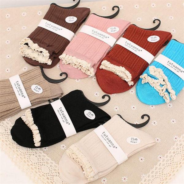 Sonbahar ve Kış yeni moda kadın çorap Bambu Elyaf Çorap Dantel Çorap Orta tüp çorap T6I6001