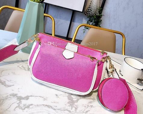 top popular Women Three-Piece Bags Printing Flowers 3 in 1 Chain Bag Real Leather Wallet Strap Crossbody Shoulder Messenger Coin Purse 2020