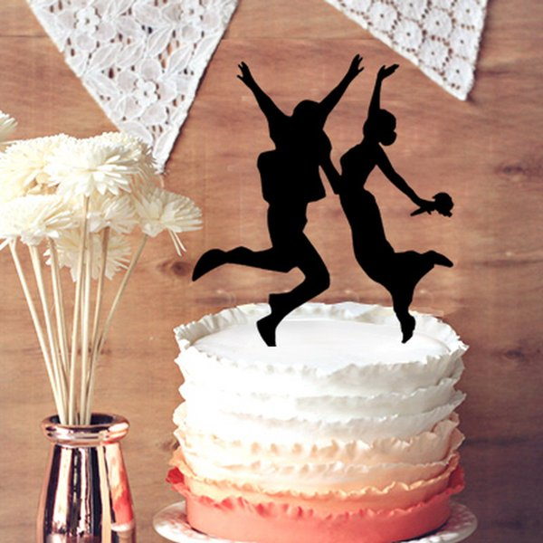 The Jumping Bride and Groom Couple Silhouette Wedding Cake Topper