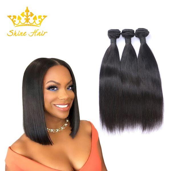 Shine Hair Indian 8-30 Inch Natural Black Color Straight Human Virgin Hair 3 Bundles Brazilian Hair Bundle Weft