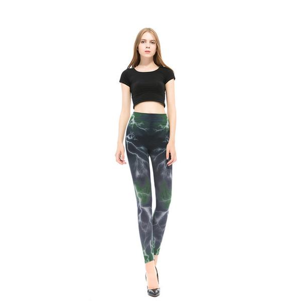 New Fashion 2019 Lightning Printed Elasticity Leggings Outwear Fitness Pant Legins High Quality Women Leggings W16031302