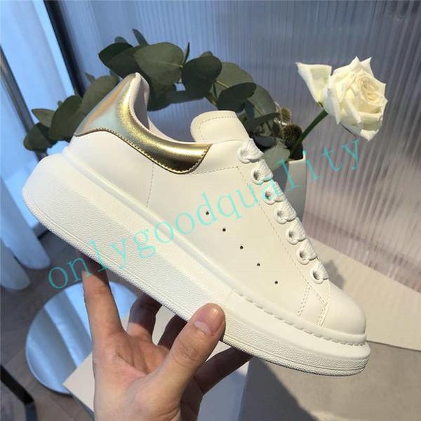 2019 Luxury scarpe firmate Scarpe con la zeppa in pelle Mens modo delle donne di bianco superiore Vera Pelle scarpa da tennis piatto dimensioni casual Calzature 35-46 R0