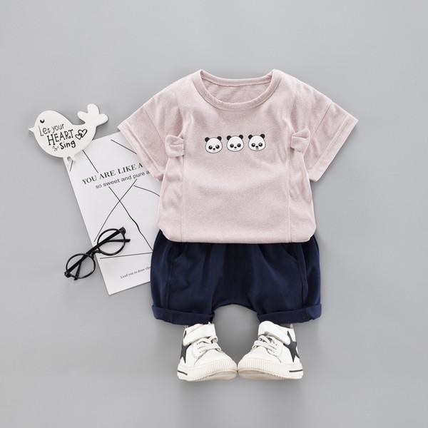 4 Colors Cotton Children's Sets Infant Kids Boys Clothes Children Clothing Suit Summer Baby Girls Clothes Cute Panda T-Shirt+Shorts Sport