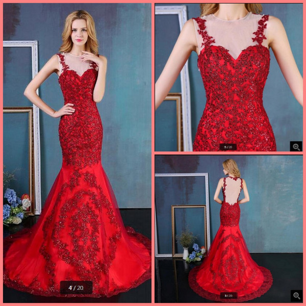 2019 free shipping mermaid lace appliques red wedding dress sheer back sexy sleeveless court train modern sleeveless bride dresses hot sale