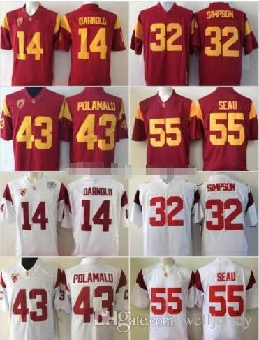 NCAA USC Trojans 14 Sam Darnold Reggie Bush JuJu Smith-Schuster Adoree' Jackson Troy Polamalu OJ Simpson Junior Seau del calcio Jersey