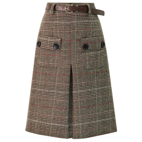 Fashion Women Plaid Skirt Double-Layer With Belt Pocket Skirts A-Line High Waist Party Skirt Casual Spring Skirts