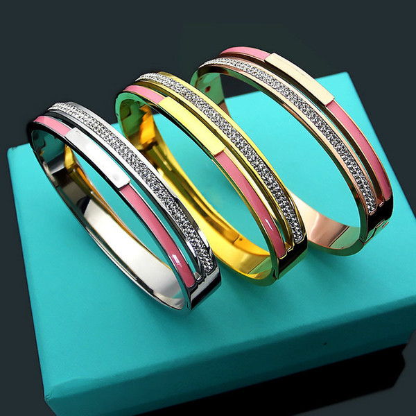 New Style 3 Gold Color Micro Pave Top Rhinestone Pink Green Enamel Bangle For Women Brand Jewelry C19010401