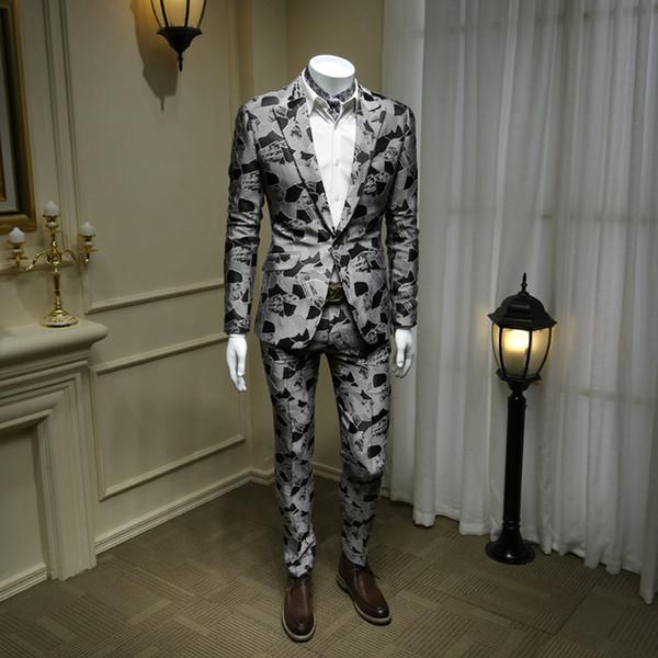 XM GEEKI Moda uomo Giacche da uomo Mans Abito da sposa Completo due pezzi Abito nero Giacche stile britannico Blazer grigio 365wt42