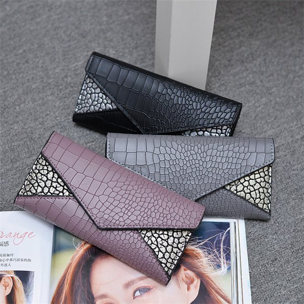 New womens fashion bag clutch purse tri-fold Crocodile pattern leather card cash wallet money handbag lady long purses