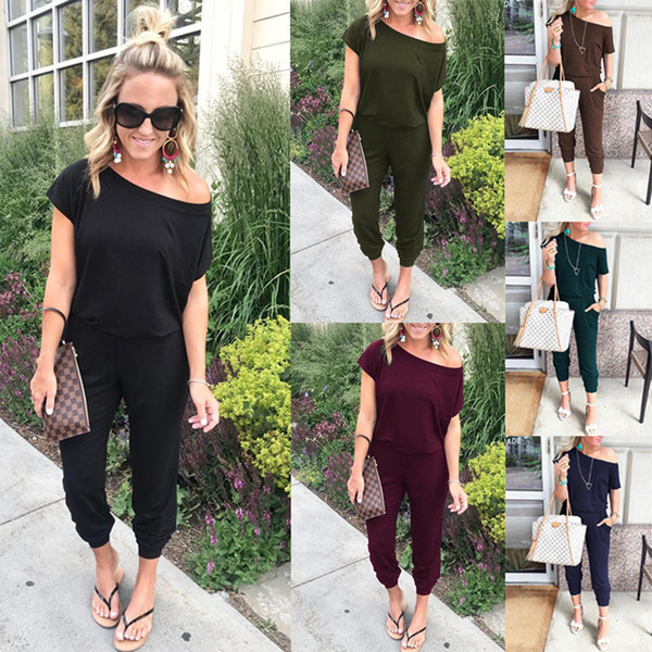 top popular Women off shoulder Jumpsuit Pants Club Sexy Casual Loose solid One shoulder short sleeve Party Ladies Rompers playsuit LJJA2676 2019