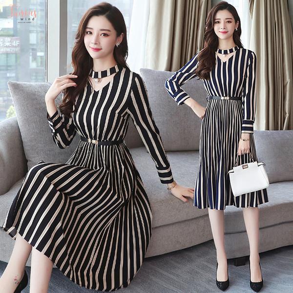 2019 Kadınlar Kış XXXL Artı boyutu Siyah Çizgili Midi Elbise Kore Sonbahar BODYCON Seksi Elbise Uzun Kollu Pist vestidos