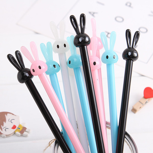 (1pcs/sell) Rabbit Gel Pen Black Ink Refill 0.5 Mm Gel Ink Pens Papelaria Kawaii School Stationery Escolar School Supplies