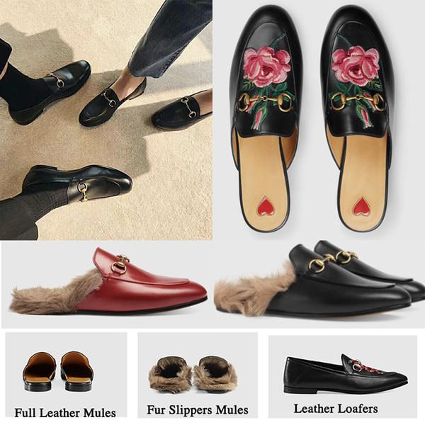 Sıcak Satış-Marka Katır Princetown Erkek Kadın Kürk Terlik Katır Yassı Hakiki Deri Lüks Tasarımcı Moda Metal Zincir Bayanlar Rahat ayakkabı