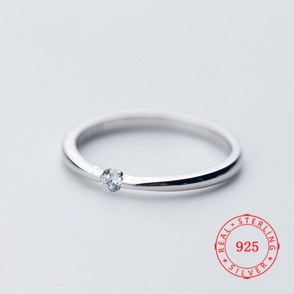 New arrival Chic 925 Sterling Silver Solitaire Ring Cubic Zirconia Girl Ring Designed for Couple woman white gold plated jewellry wholesale