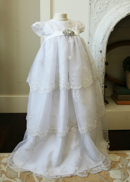 With HeadFlower First Communion Dresses Sequins Lace Elegant Edge Full Length Half Sleeves Baptism Outfits Formal Infant Girl Wear 186-2