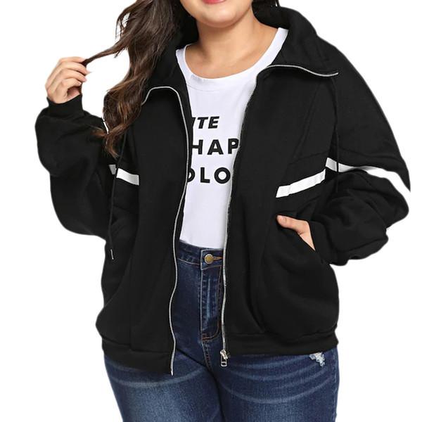 Giacca a vento da donna Plus Size Tasche con cerniera Harajuku Bomber Cappotto invernale Giacche con cappuccio da donna Giacca a vento