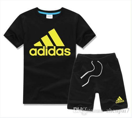 New fashion Children's Clothing sets For Boys And Girls Gold three bar set Baby Short Sleeve Clothes Kids Set yellow leaves
