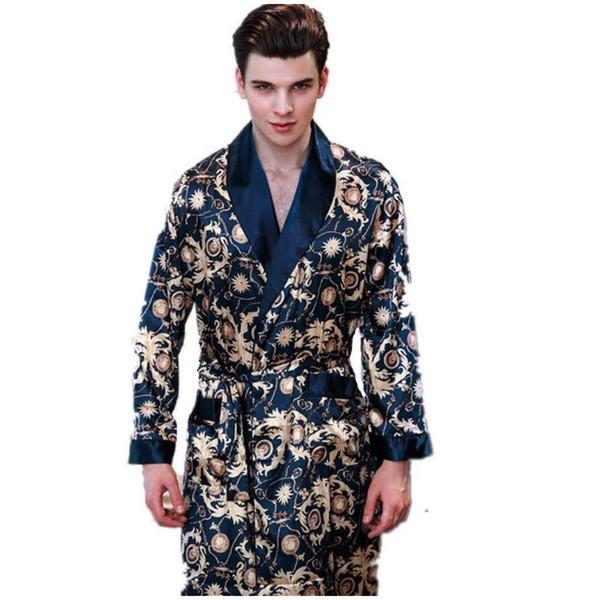 New Summer Satin Robes Male Dressing Gown Men's Long Sleeve Silk Print Paern Bathrobe Leisure Kimono Home Men