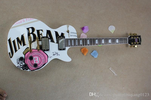 JIM BEAM model with pink rose flower decal on body top white color OEM Standard electric Guitar
