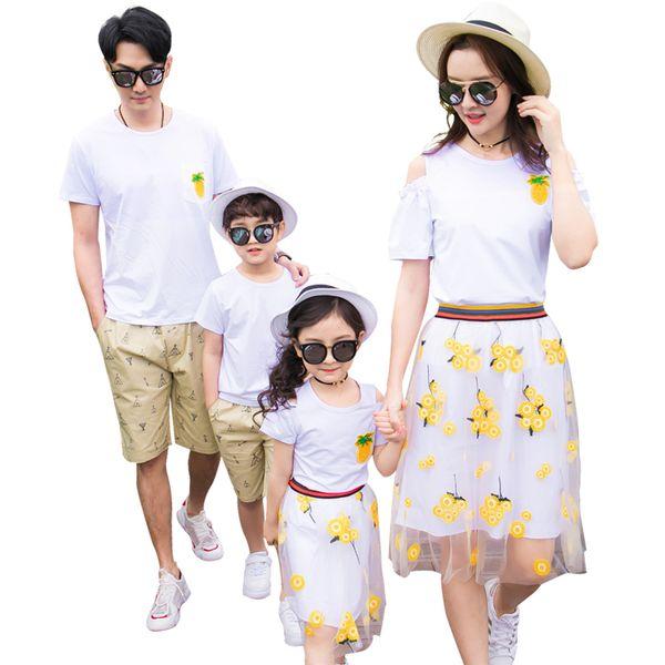 Nueva Piña Verano familia trajes ropa familia madre hija camiseta Falda padre hijo algodón camiseta Shorts 2pcs / Sets