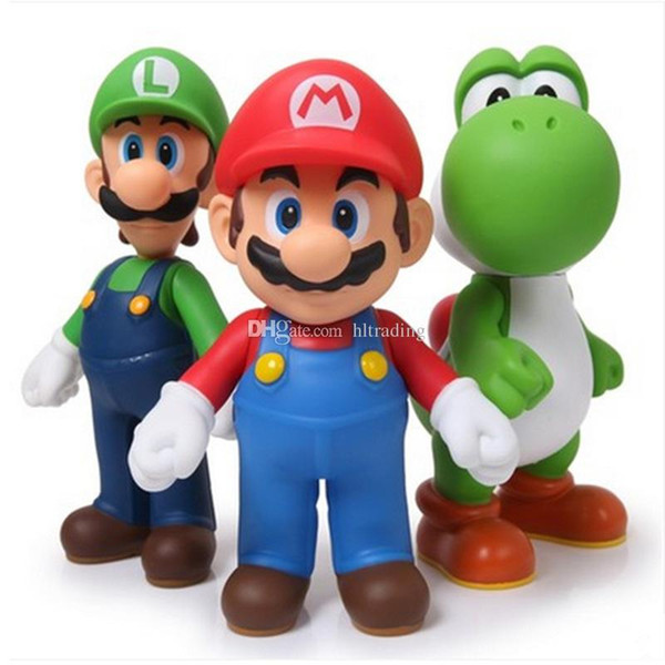 6 Styles Kids Super Mario Bros toys New Cartoon game Mario Luigi Yoshi Action Figures Super Mario PVC Gift For Kids Toy Figures C4533