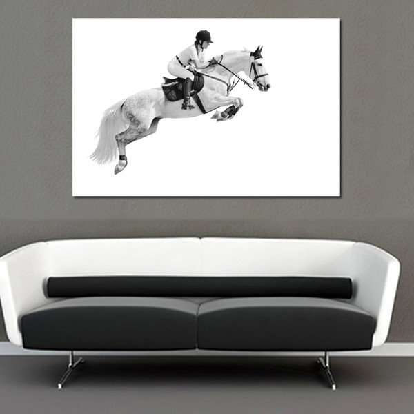 1 Pcs Modern Canvas Painting Ridding Girl Race Horse Wall Art Prints Posters Simple Art Pictures for Living Room No Frame