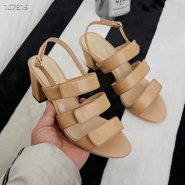 Popular Summer Luxury Ladies Sandals High Heel decoration Peep Toes Ankle Strap Chunky Heel Shoes Party Sexy Fashion Ladies Shoes