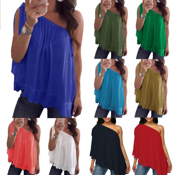 Frauen-reine Farben-trägerlose Kleidung-schräge Schulter-Chiffon- Hemd-T-Shirt populärer kreativer Verkauf gut mit überlegener Qualität 12yb J1