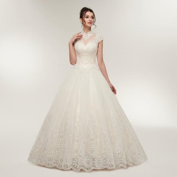 Великолепный скромный высокая шея линии кружева аппликация с открытой спиной свадебные платья на заказ плиссированные свадебные платья свадебные платья