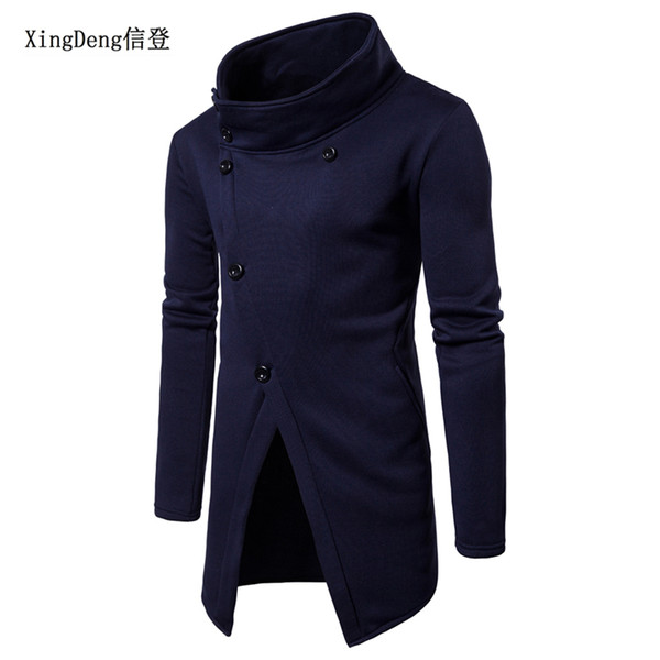 xingdeng black hoodie sweatshirt buttons irregular hiphop street style men long sleeve fashion casual spring autumn clothing - from $19.60