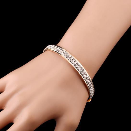Encanto pulseras de cristal de lujo para las mujeres oro plata pulsera brazaletes Femme abierto brazalete pulsera brazalete
