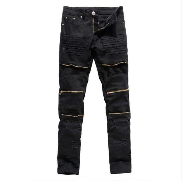 Hot sale Classic Slim Mens Jeans Men Clothing Fit Straight Biker Ripper Zipper Full length Men's Pants Casual Pants size 36 34 32