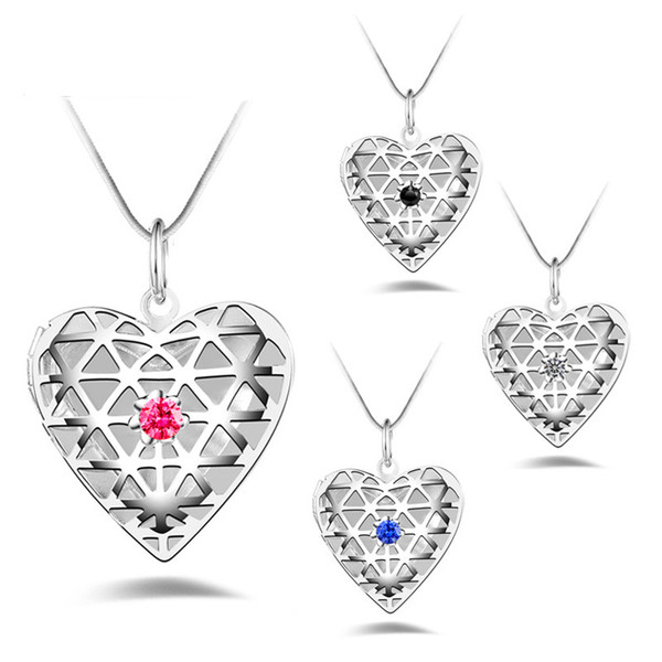 women 925 sterling silver Photo Heart Love Hollow Lockets Necklace CZ Diamond Essential Oils Diffuser Locket snake chain For Fashion Jewelry
