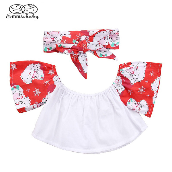 Emmababy bambino copre Natale 6-4y infante neonata petalo manicotto supera la maglietta spalle Tees + fascia Set Outfits 2 pezzi