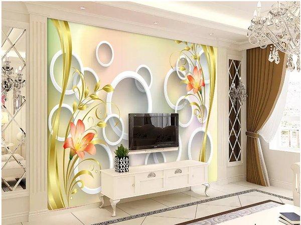Acheter 3d Wallpaer Personnalisé Photo Mural Cercle Doré Lis Fleur Fond Salon Peinture Décoration 3d Peintures Murales Papier Peint Pour Murs 3d De
