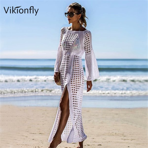 a373a75f1a Vikionfly Long Crochet Beach Cover Up Bikini Coverup Women Summer White  Sheer Swimsuit Transparent Beachwear Swim. Sold Out