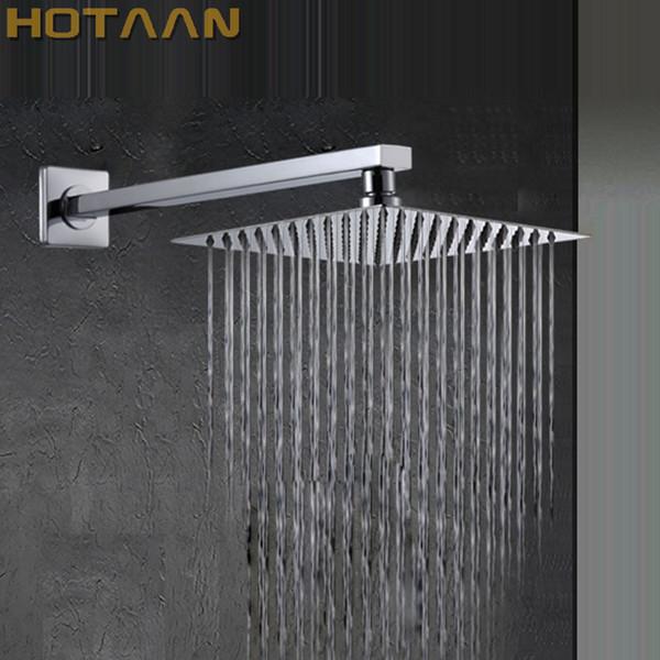 SPEDIZIONE GRATUITA 25 CM x 25 CM quadrato in acciaio inox Soffione doccia Ultra-sottile con braccio, accessori doccia Chuveiro YT-5123
