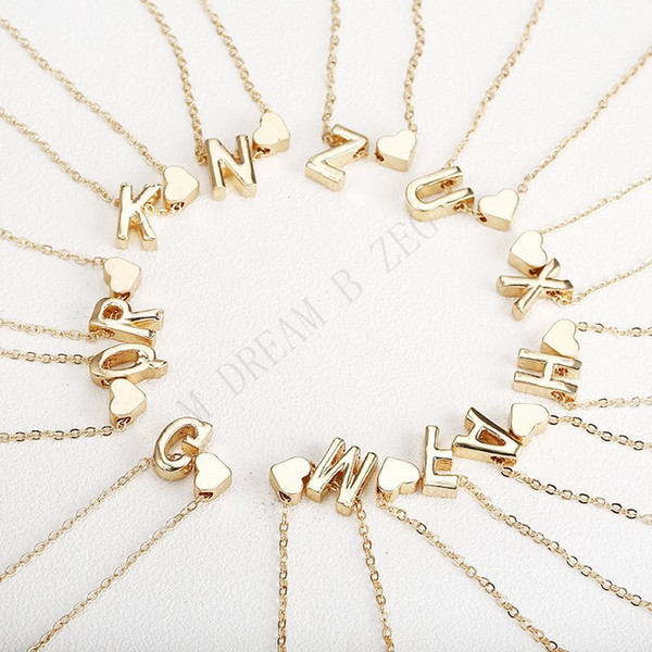 best selling 26 Intial letter alphabet heart pendant necklace for women gold color A-Z alphabet necklace chain fashion jewelry Gift