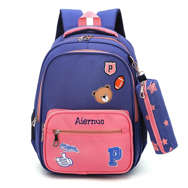 Children School Bags Fish Cute Little Bear Schoolbags Boys And Girls 2-6 Grade Decompression Ridge 6-10 Years Old Small Bag