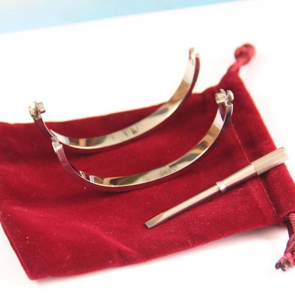 Titane Acier Rose Or Argent Tournevis Hommes Charme Vis hommes Diamant Designer De Luxe Bijoux Femmes Bracelet Amour Bracelets Bracelets